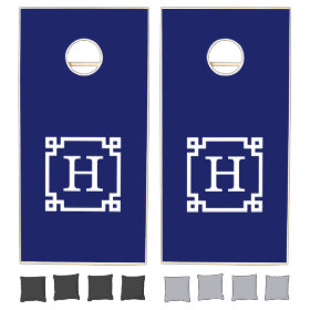Navy White Greek Key Frame #2 Initial Monogram Cornhole Sets