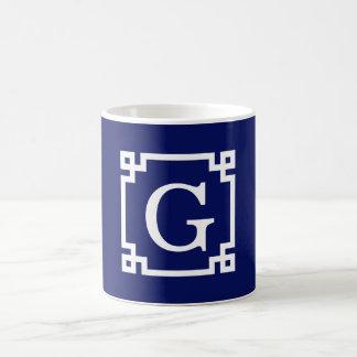 Navy White Greek Key Frame #2 Initial Monogram Coffee Mugs