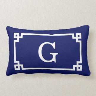 Navy White Greek Key Frame #2 Initial Monogram Pillows