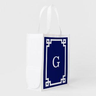Navy White Greek Key Frame #2 Initial Monogram Grocery Bag