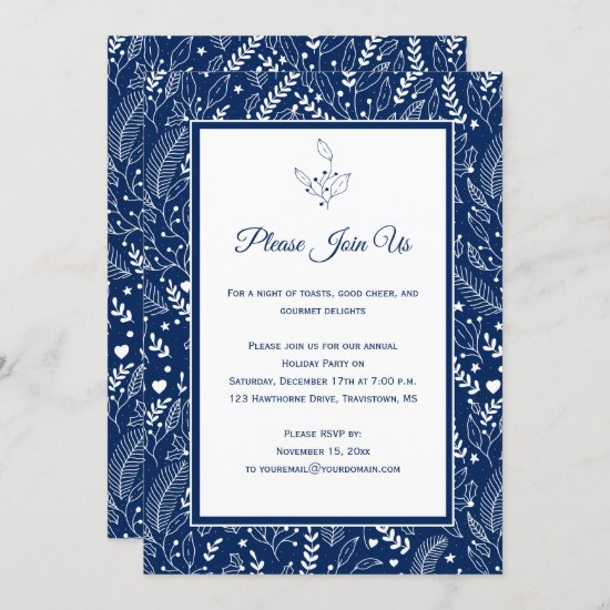 Navy White Holly Berries Floral Swirls Patter Invitation