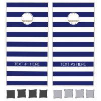 Navy White Horizontal Preppy Stripe Name Monogram Cornhole Set