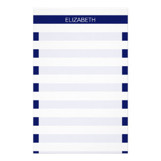 Navy White Horizontal Preppy Stripe Name Monogram Stationery