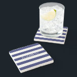 "Navy White Horizontal Preppy Stripe Name Monogram Stone Coaster<br><div class=""desc"">Classic Navy Blue and White Preppy Horizontal Rugby Stripes Name Monogram A stylish bold horizontal stripe pattern with a template for your name, initials or other text. You can also customize the text font, font color, font size and rotation, move or remove the sample text, add additional text fields, add...</div>"