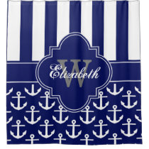 Navy White LG Anchor Stripe 1ICBR Monogram Shower Curtain