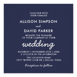 Navy White Modern Minimalist Wedding Invitation