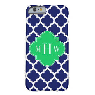 Navy White Moroccan #5 Emerald 3 Initial Monogram Barely There iPhone 6 Case