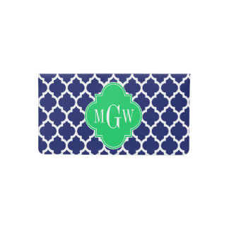 Navy White Moroccan #5 Emerald 3 Initial Monogram Checkbook Cover