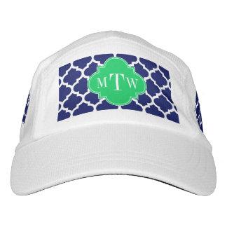 Navy White Moroccan #5 Emerald 3 Initial Monogram Headsweats Hat