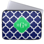 Navy White Moroccan #5 Emerald 3 Initial Monogram Laptop Computer Sleeve