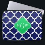 "Navy White Moroccan #5 Emerald 3 Initial Monogram Laptop Sleeve<br><div class=""desc"">Navy Blue and White Moroccan Quatrefoil Trellis Pattern #5, Emerald Green Quatrefoil 3 Initial Monogram Label Customize this with your 3 initial monogram, name or other text. You can also change the font, adjust the font size and font color, move the text to adjust letter spacing, etc. Please note that...</div>"