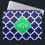 """Navy White Moroccan #5 Emerald 3 Initial Monogram Laptop Sleeve<br><div class=""""desc"""">Navy Blue and White Moroccan Quatrefoil Trellis Pattern #5, Emerald Green Quatrefoil 3 Initial Monogram Label Customize this with your 3 initial monogram, name or other text. You can also change the font, adjust the font size and font color, move the text to adjust letter spacing, etc. Please note that...</div>"""