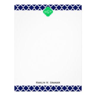 Navy White Moroccan #5 Emerald 3 Initial Monogram Letterhead