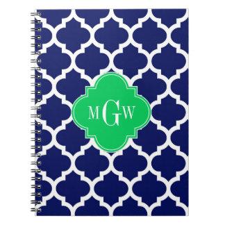 Navy White Moroccan #5 Emerald 3 Initial Monogram Spiral Notebook