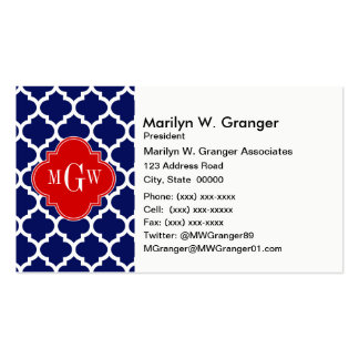 Navy White Moroccan #5 Red 3 Initial Monogram Double-Sided Standard Business Cards (Pack Of 100)