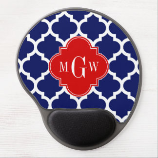 Navy White Moroccan #5 Red 3 Initial Monogram Gel Mouse Pad