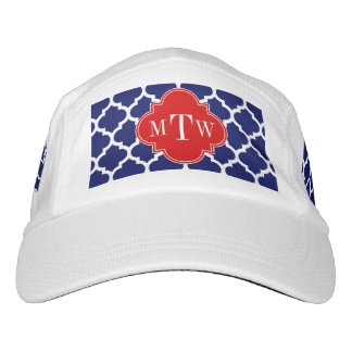 Navy White Moroccan #5 Red 3 Initial Monogram Headsweats Hat