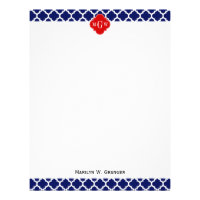 Navy White Moroccan #5 Red 3 Initial Monogram Letterhead