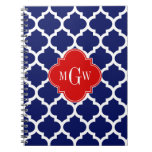 Navy White Moroccan #5 Red 3 Initial Monogram Spiral Note Book