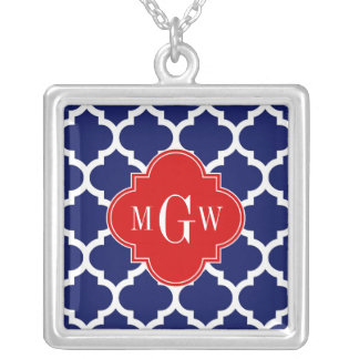 Navy White Moroccan #5 Red 3 Initial Monogram Silver Plated Necklace