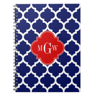 Navy White Moroccan #5 Red 3 Initial Monogram Spiral Notebook