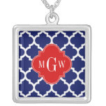 Navy White Moroccan #5 Red 3 Initial Monogram Square Pendant Necklace