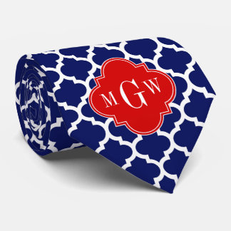Navy White Moroccan #5 Red 3 Initial Monogram Tie