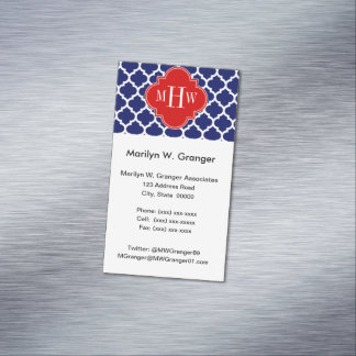 Navy White Moroccan #5 Red 3 Initial Monogram Magnetic Business Cards (Pack Of 25)