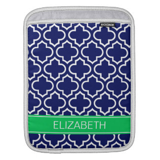 Navy White Moroccan #6 Emerald Name Monogram Sleeve For iPads