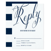 Navy & White Mr. & Mrs. Elegant Script RSVP Card