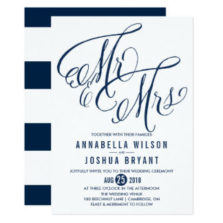 Navy & White Mr. & Mrs. Elegant Script Wedding Card