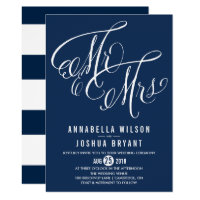 Navy & White Mr. & Mrs. Elegant Script Wedding II Card