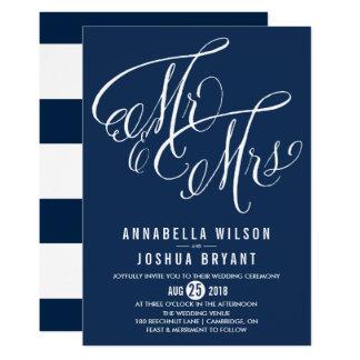 Navy & White Mr. & Mrs. Elegant Script Wedding II Invitation