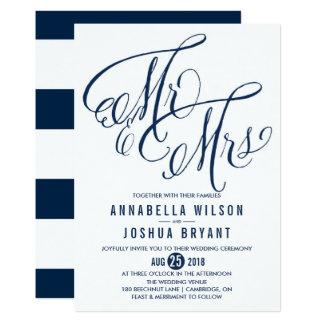 Navy & White Mr. & Mrs. Elegant Script Wedding Invitation