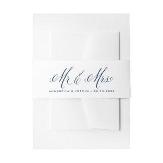 Navy & White Mr. & Mrs. Elegant Script Wedding Invitation Belly Band