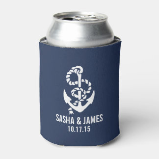 Navy & White Nautical Rope & Anchor Wedding Favor Can Cooler