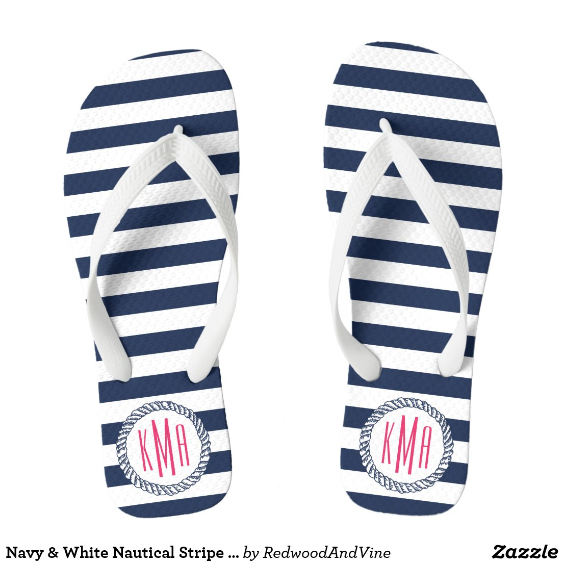 Navy & White Nautical Stripe w/ Pink Monogram Flip Flops