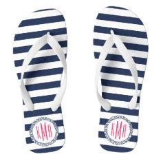 Navy & White Nautical Stripe w/ Pink Monogram Flip Flops at Zazzle