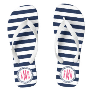 66e9b3169e20 Navy   White Nautical Stripe w  Pink Monogram Flip Flops