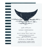 Navy & White | Nautical Whale Wedding Invitation