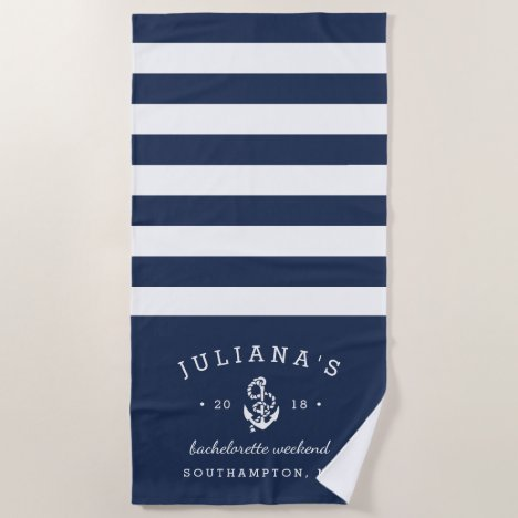 Navy & White Personalized Bachelorette Weekend Beach Towel
