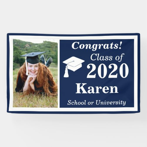 Navy White Photo Class of 2020 Graduation Banner