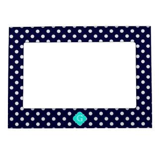 Navy White Polka Dot Aqua Quatrefoil Monogram Magnetic Picture Frame