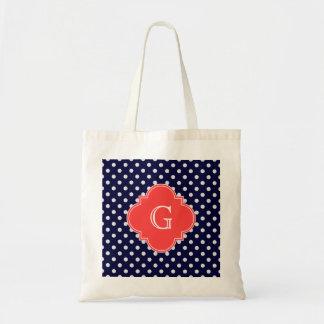 Navy White Polka Dot Coral Quatrefoil Monogram Bags