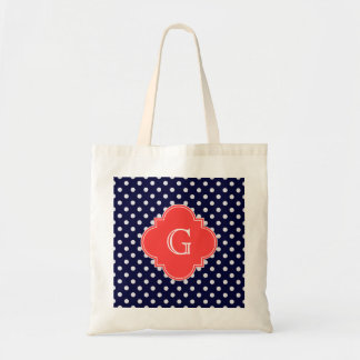 Navy White Polka Dot Coral Quatrefoil Monogram Budget Tote Bag