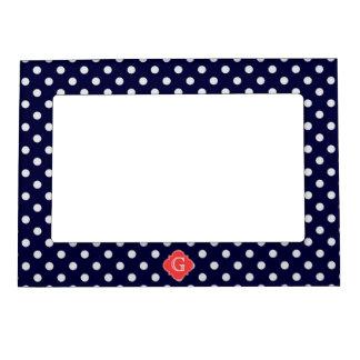 Navy White Polka Dot Coral Quatrefoil Monogram Photo Frame Magnet