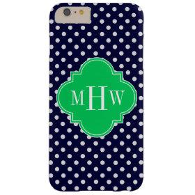 Navy White Polka Dot Emerald Quatrefoil 3 Monogram Barely There iPhone 6 Plus Case