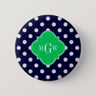 Navy White Polka Dot Emerald Quatrefoil 3 Monogram Pinback Button
