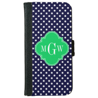 Navy White Polka Dot Emerald Quatrefoil 3 Monogram iPhone 6 Wallet Case