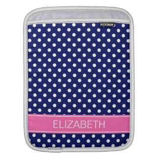 Navy White Polka Dot Hot Pink Name Monogram Sleeve For iPads